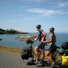 On our tandem Bicycle touring the San Juan Islands.