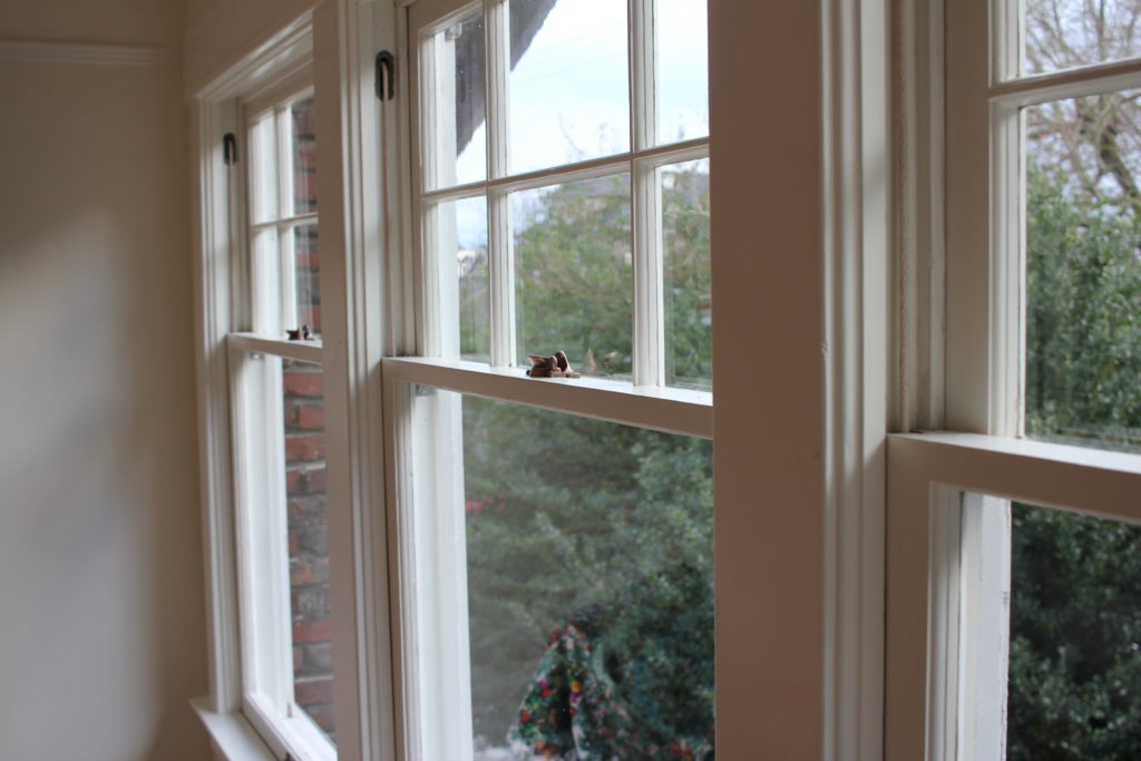 6 Over 1 Red White Painted Double Hung Single Pane Windows