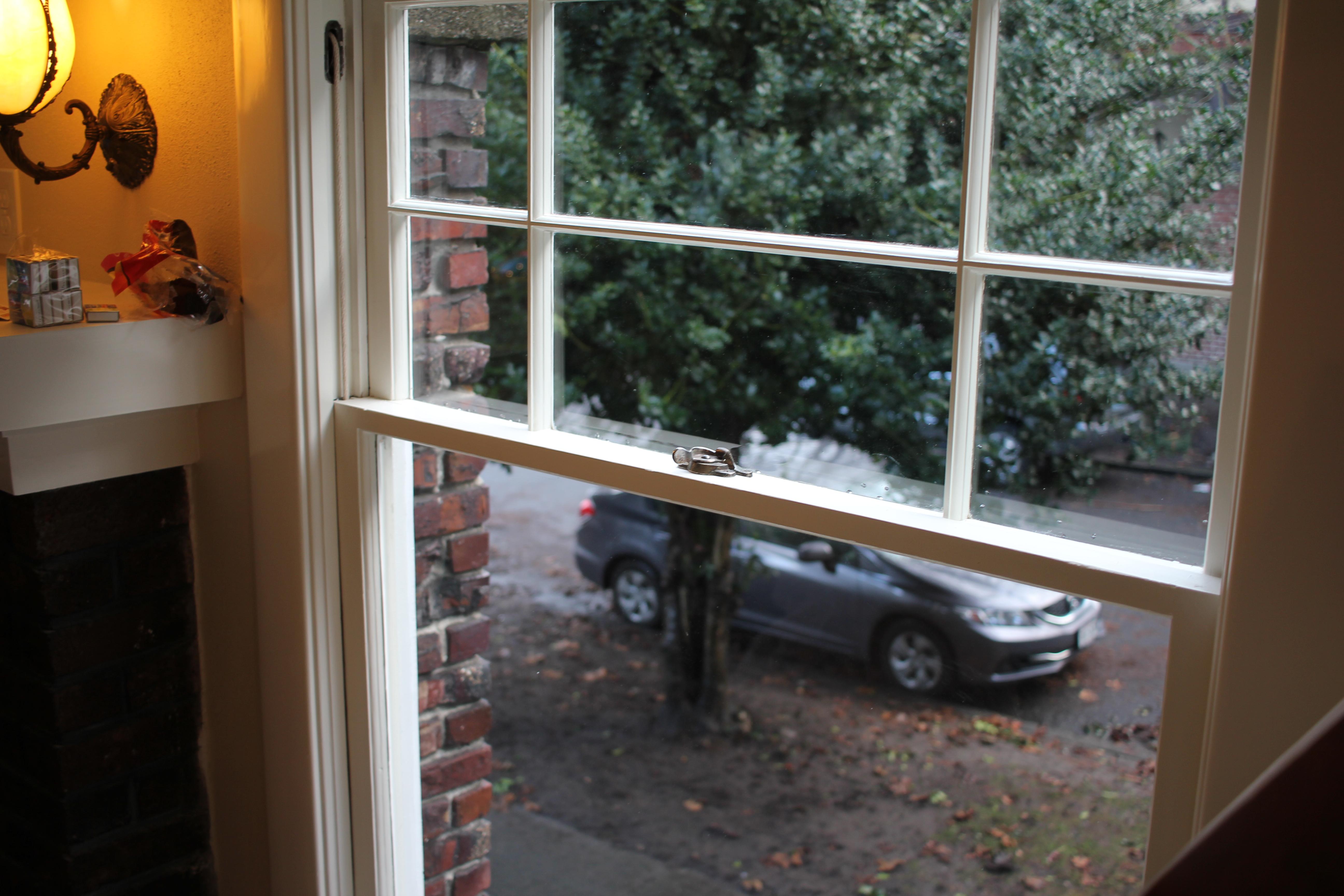 single pane historic double hung window